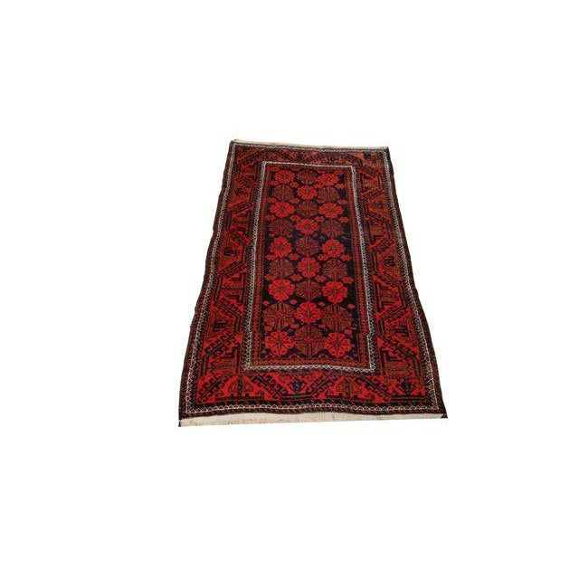Vintage Traditional Baluch Hand Made Knotted Rug - 3′6″ × 6′2″ - Image 2 of 4