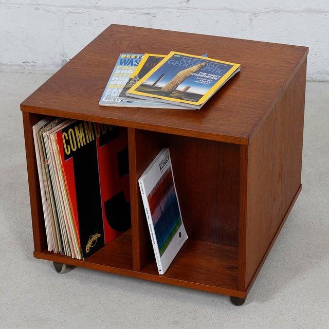 Rolling Vinyl / Book Caddy / Multifunctional Storage Cube in Teak - Image 10 of 10