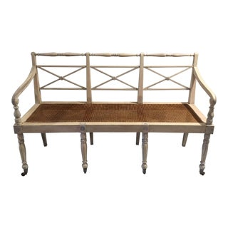 Antique French Caned Settee Bench