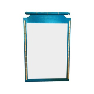 Vintage Henry Link Bali Hai Teal & Gold Faux-Bamboo Mirror