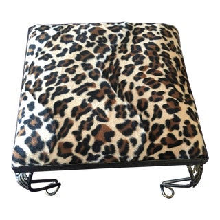Vintage Bronze Leopard Patterned Footstool