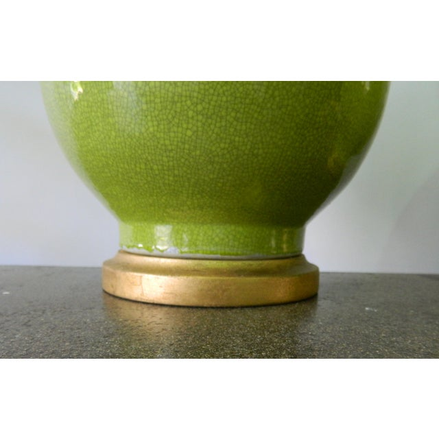 Seaweed Green Crackle Table Lamps - A Pair - Image 3 of 8