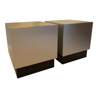 Vintage Stainless Steel Cube Side Tables - A Pair
