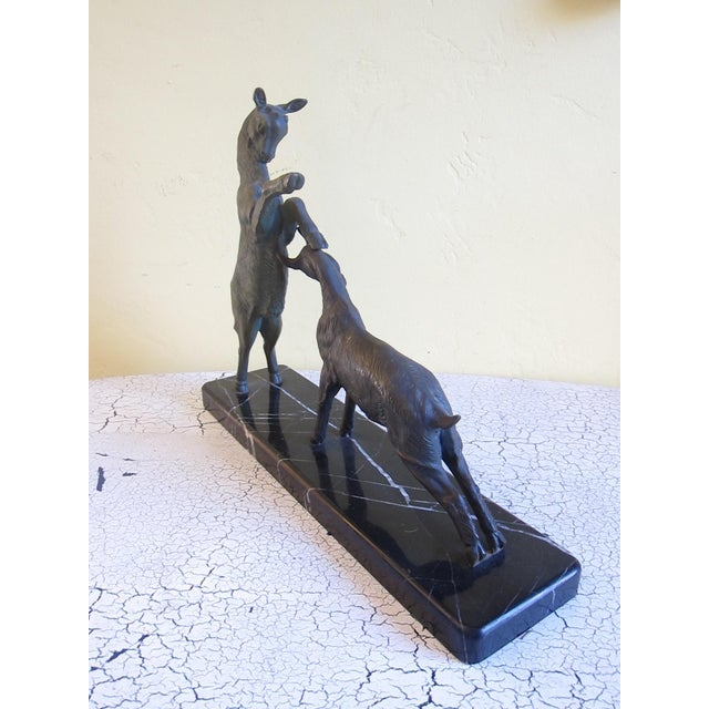 Vintage Art Deco Bronzed Rutting Goats on Marble - Image 6 of 11