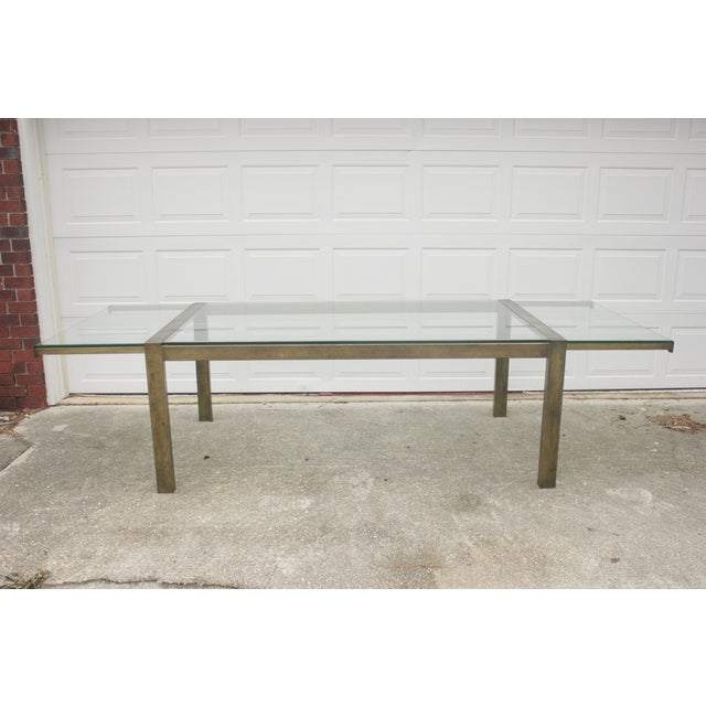 Image of Milo Baughman Style Brass Dining Extension Table