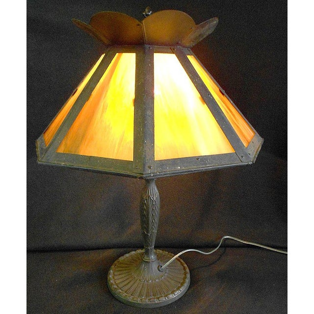 Image of Antique Pittsburgh Lamp With Eight Panel Shade