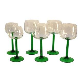 Emerald Green Cristal d'Arques Wine Glasses - Set of 6