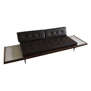 Leather Mid-Century Sofa With Floating End Tables