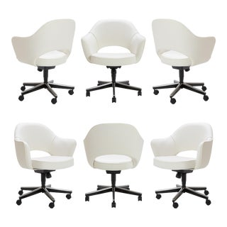 Customizable Saarinen Executive Arm Chairs in Ivory Basket Weave, Swivel Base, Set of Six