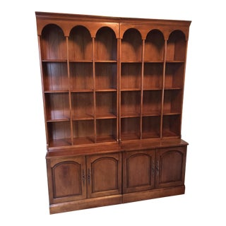 Early American Bookshelves With Storage Cabinets - Set of 3