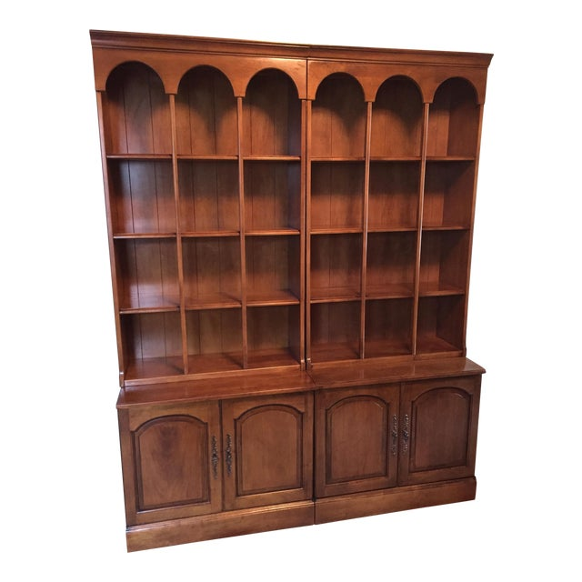 Early American Bookshelves With Storage Cabinets - Set of 3 - Image 1 of 7