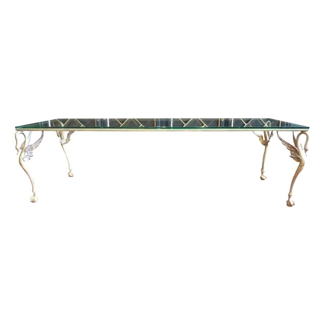 Winged Swan Brass & Glass Coffee Table - Image 1 of 8