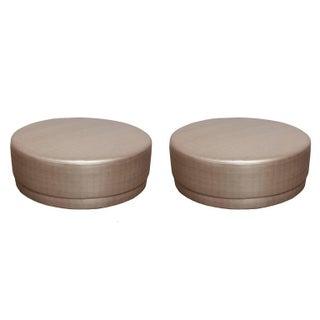 Metallic Silver Round Ottomans - A Pair