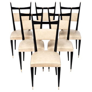 Set Of 6 French Vintage Mid-Century Ebonized Dining Chairs