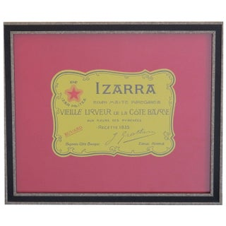 Framed French Vintage Izarra Label