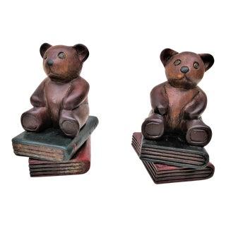 Wooden Teddy Bear Bookends - A Pair
