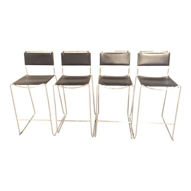 Design Within Reach Italian Leather Chrome Bar Stools - Set of 4 - Image 1 of 4
