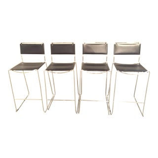 Design Within Reach Italian Leather Chrome Bar Stools - Set of 4