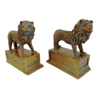 Vintage Standing Lion Bookends - Pair