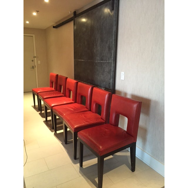 Red Custom Made Dining Chairs - Set of 6 - Image 2 of 8