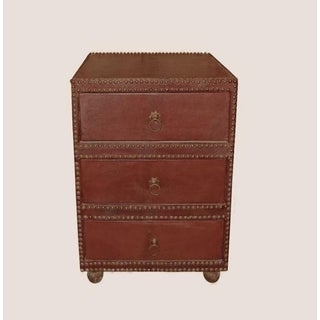 Mid-Century Leather Three-Drawer Chest or Nightstand, Spain, 1960s