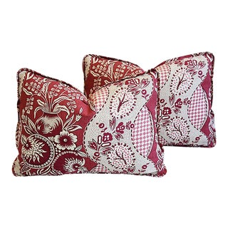"""Custom Clarence House Fabric Feather/Down Pillows 23"""" X 16"""" - Pair"""
