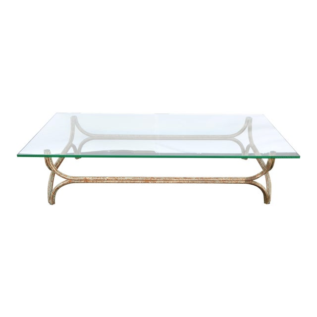 glass iron coffee table chairish. Black Bedroom Furniture Sets. Home Design Ideas