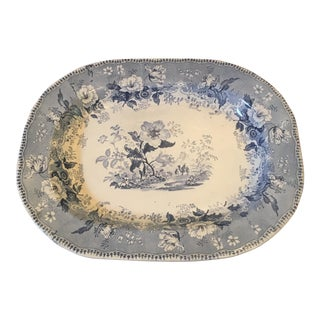1860 English Blue & White Transferware Platter