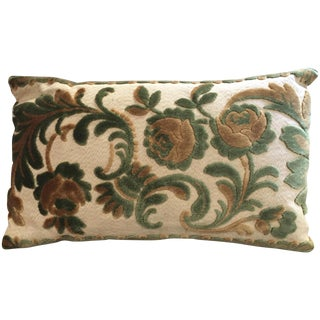 Antique Florentine Cut Silk Velvet Lumbar Pillow