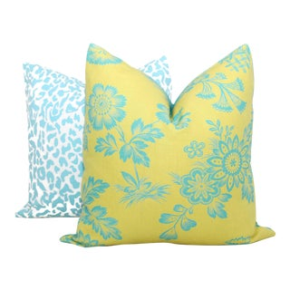 "20"" x 20"" Chartreuse Song Garden Decorative Pillow Cover"