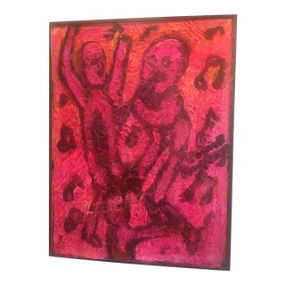 Textural Contemporary Art Dancers in Wood Frame