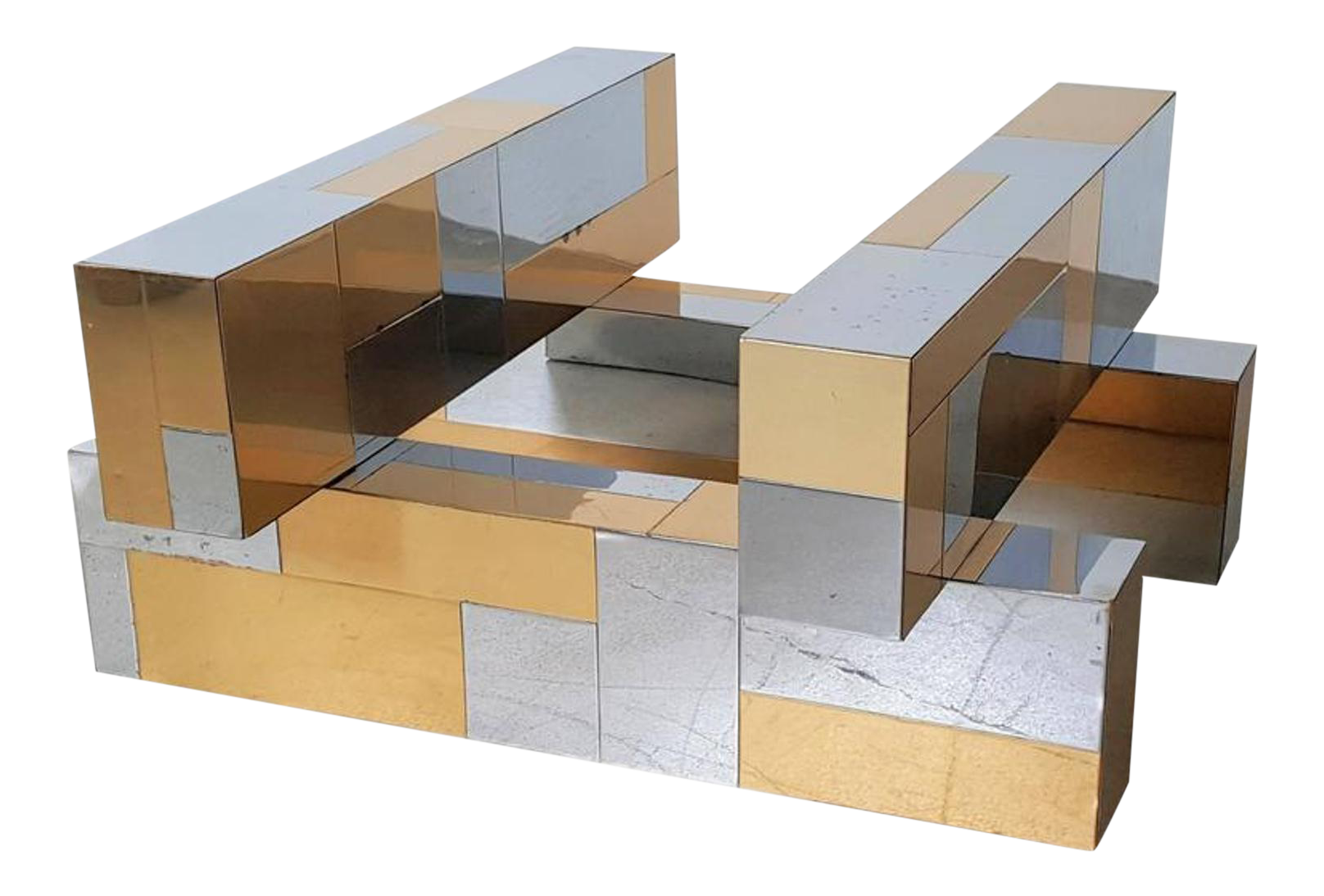 Paul Evans Cityscape Coffee Table Base In Brass U0026 Chrome, 1970s