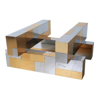 Paul Evans Cityscape Coffee Table in Brass & Chrome, 1970s