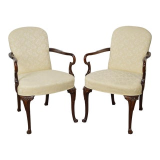 Hickory Chair Solid Mahogany Queen Anne Arm Chairs - a Pair