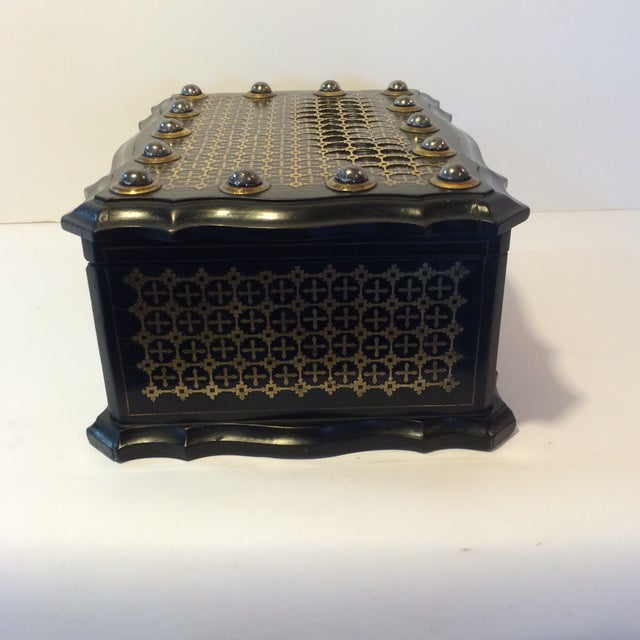 French Solid Ebony Wood Jewel Box - Image 4 of 7