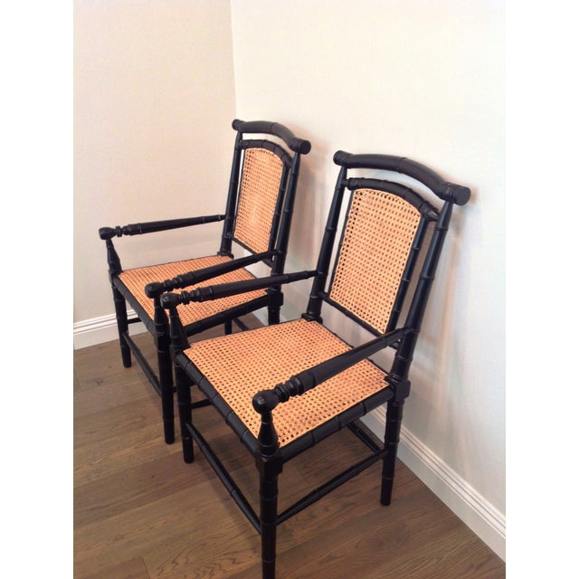 Image of Noir Colonial Bamboo Armchairs - a Pair