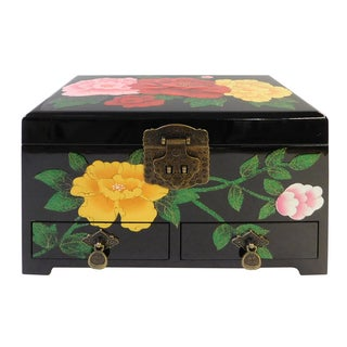 Chinese Lacquered & Mirrored Jewelry Box
