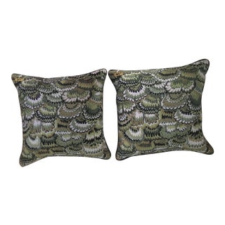 Green Jonathan Adler Needlepoint Pillows - A Pair