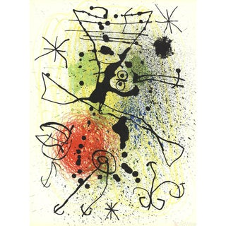 Joan Miro, Line and Splatter Composition Lithograph