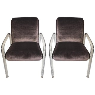 Vintage Lucite & Purple Velvet Chairs - A Pair
