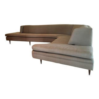 Mid-Century Linen Upholstered Two Piece Setional Sofa