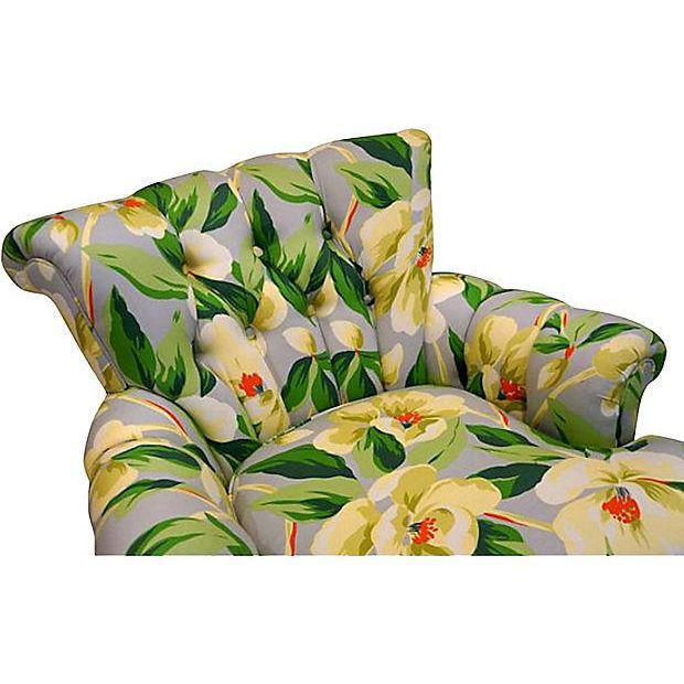 Image of Mid-Century Floral Print Button Tufted Chairs - A Pair