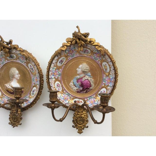 Porcelain & Bronze Royal Portrait Sconces - A Pair - Image 5 of 11