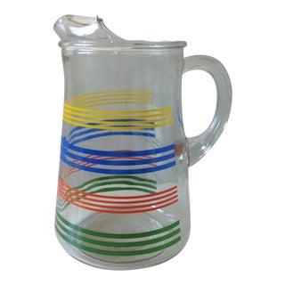 Vintage Striped Glass Ice Tea Pitcher