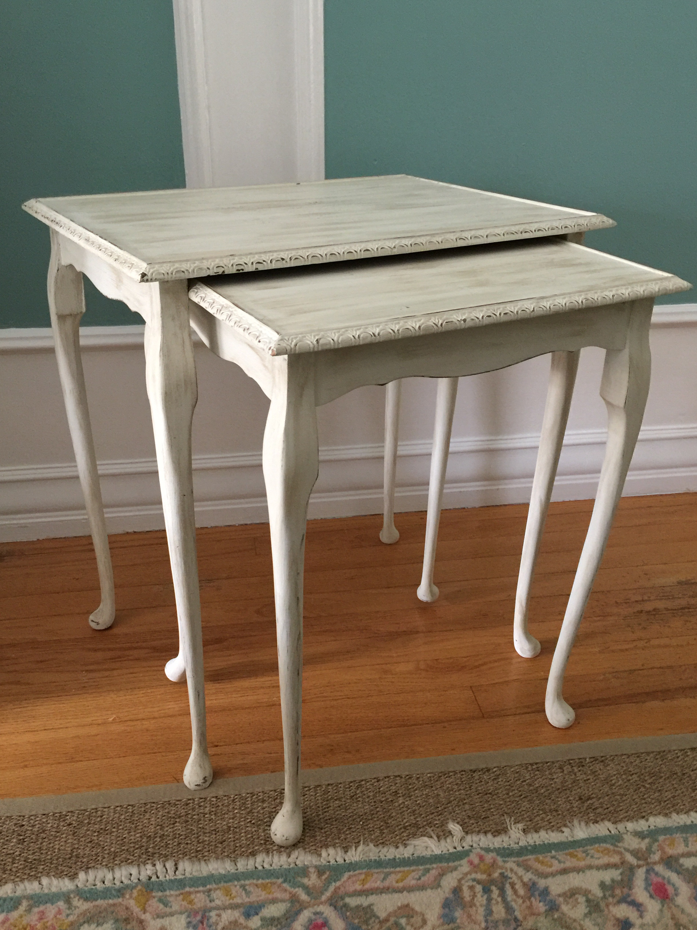 Pair Of Vintage Chalk Painted Antique White Nesting Tables   Image 2 Of 7