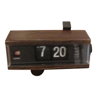 Vintage Mid-Century Copal Wood Grain Flip Alarm Clock