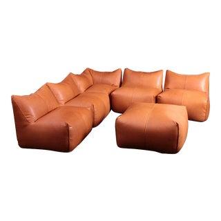 Sectional Bambole Sofa, Mario Bellini for B&B Italia Tan Leather - Set of 6