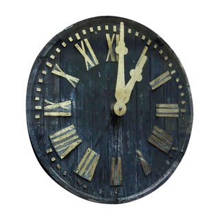 19th Century Wood Church Tower Clock Face