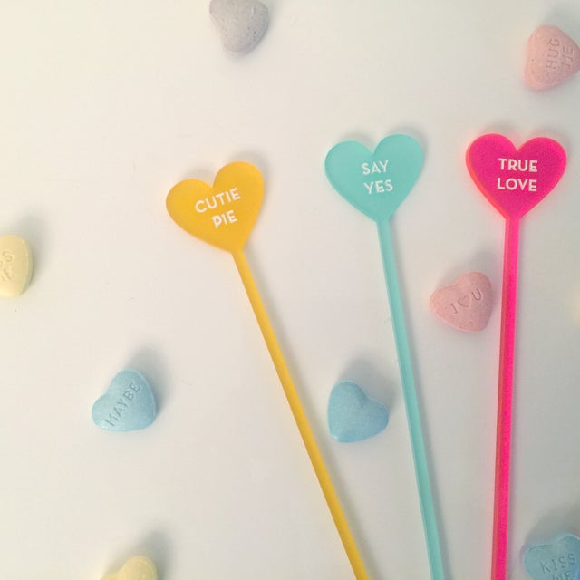 Image of Classic Candy Heart Drink Stirrers - Set of 6