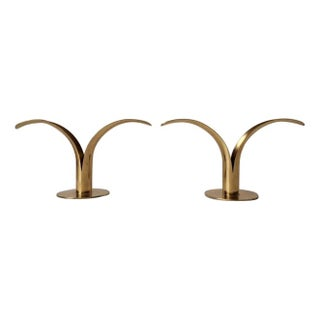 Swedish Brass Lily Candlesticks - A Pair